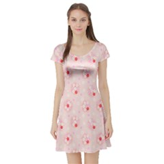 Flower Arrangements Season Pink Short Sleeve Skater Dress