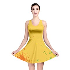 Paint Stains Spot Yellow Orange Green Reversible Skater Dress