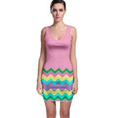 Easter Chevron Pattern Stripes Sleeveless Bodycon Dress