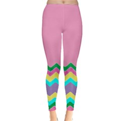 Easter Chevron Pattern Stripes Classic Winter Leggings by Amaryn4rt