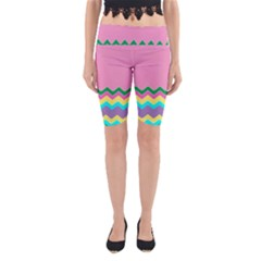 Easter Chevron Pattern Stripes Yoga Cropped Leggings by Amaryn4rt