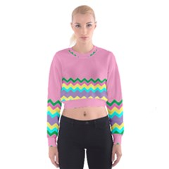 Easter Chevron Pattern Stripes Women s Cropped Sweatshirt by Amaryn4rt
