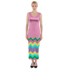 Easter Chevron Pattern Stripes Fitted Maxi Dress