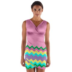 Easter Chevron Pattern Stripes Wrap Front Bodycon Dress by Amaryn4rt
