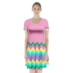 Easter Chevron Pattern Stripes Short Sleeve V-neck Flare Dress by Amaryn4rt