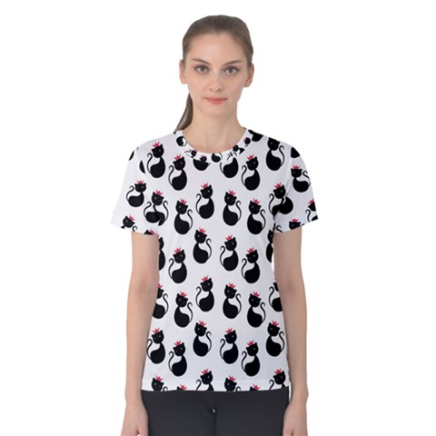 Cat Seamless Animal Pattern Women s Cotton Tee by Amaryn4rt