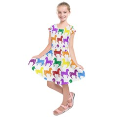 Colorful Horse Background Wallpaper Kids  Short Sleeve Dress by Amaryn4rt