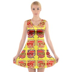 Funny Faces V-neck Sleeveless Skater Dress by Amaryn4rt