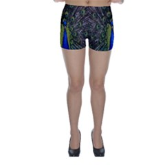 Bird Peacock Display Full Elegant Plumage Skinny Shorts by Amaryn4rt