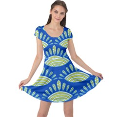 Sea Shells Blue Yellow Cap Sleeve Dresses by Alisyart