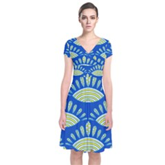 Sea Shells Blue Yellow Short Sleeve Front Wrap Dress