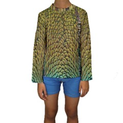 Colorful Iridescent Feather Bird Color Peacock Kids  Long Sleeve Swimwear by Amaryn4rt