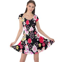Flower Arrangements Season Rose Butterfly Floral Pink Red Yellow Cap Sleeve Dresses