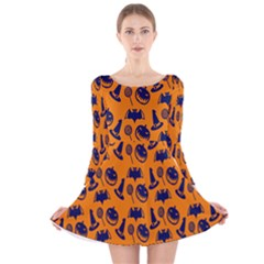 Witch Hat Pumpkin Candy Helloween Blue Orange Long Sleeve Velvet Skater Dress by Alisyart