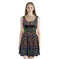 Texture Colorful Abstract Pattern Split Back Mini Dress  by Amaryn4rt
