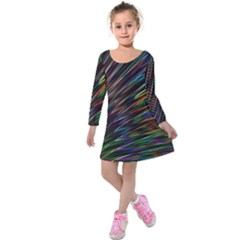 Texture Colorful Abstract Pattern Kids  Long Sleeve Velvet Dress by Amaryn4rt