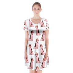 Dog Animal Pattern Short Sleeve V Neck Flare Dress by Amaryn4rt