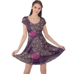 Twig Surface Design Purple Pink Gold Circle Cap Sleeve Dresses