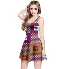 African Fabric Diamon Chevron Yellow Pink Purple Plaid Reversible Sleeveless Dress by Alisyart
