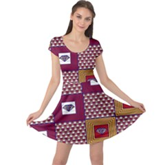 African Fabric Diamon Chevron Yellow Pink Purple Plaid Cap Sleeve Dresses