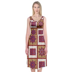 African Fabric Star Plaid Gold Blue Red Midi Sleeveless Dress by Alisyart