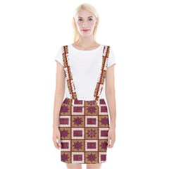 African Fabric Star Plaid Gold Blue Red Suspender Skirt