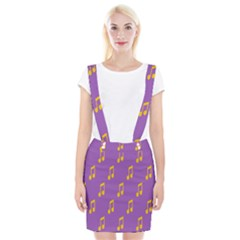 Eighth Note Music Tone Yellow Purple Suspender Skirt