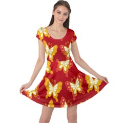 Butterfly Gold Red Yellow Animals Fly Cap Sleeve Dresses