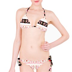 Flower Arrangements Season Floral Rose Pink Black Bikini Set