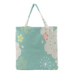 Flower Blue Pink Yellow Grocery Tote Bag