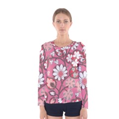 Flower Floral Red Blush Pink Women s Long Sleeve Tee by Alisyart