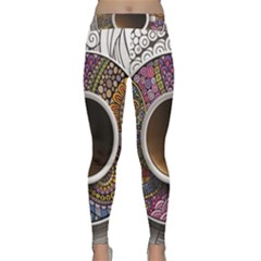 Ethnic Pattern Ornaments And Coffee Cups Vector Classic Yoga Leggings by Amaryn4rt