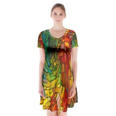 Stained Glass Patterns Colorful Short Sleeve V-neck Flare Dress by Amaryn4rt