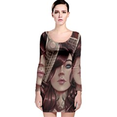 Beautiful Women Fantasy Art Long Sleeve Velvet Bodycon Dress by Amaryn4rt