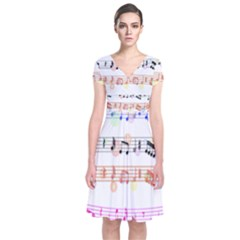 Notes Tone Music Rainbow Color Black Orange Pink Grey Short Sleeve Front Wrap Dress