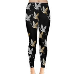 Goose Swan Gold White Black Fly Leggings  by Alisyart