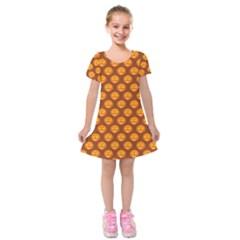 Pumpkin Face Mask Sinister Helloween Orange Kids  Short Sleeve Velvet Dress by Alisyart
