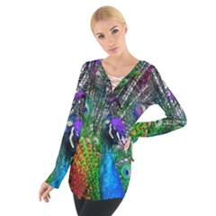 3d Peacock Pattern Women s Tie Up Tee by Amaryn4rt