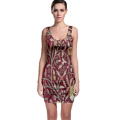 Crewel Fabric Tree Of Life Maroon Sleeveless Bodycon Dress