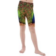 3d Peacock Bird Kids  Mid Length Swim Shorts by Amaryn4rt