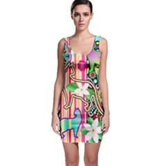 Mandalas, Cats And Flowers Fantasy Digital Patchwork Sleeveless Bodycon Dress by BluedarkArt