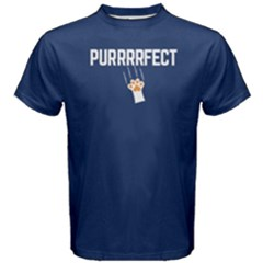 Blue Purrrfect Cat  Men s Cotton Tee by FunnySaying