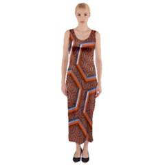 3d Abstract Patterns Hexagons Honeycomb Fitted Maxi Dress