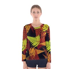 3d Red Abstract Fern Leaf Pattern Women s Long Sleeve Tee by Amaryn4rt