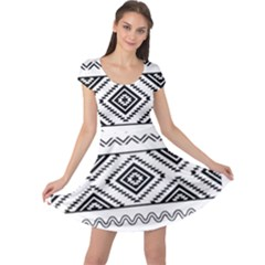 Aztec Pattern Cap Sleeve Dresses