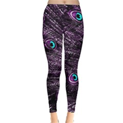 Bird Color Purple Passion Peacock Beautiful Leggings  by Amaryn4rt