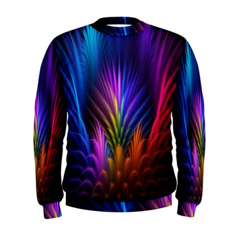 Bird Feathers Rainbow Color Pink Purple Blue Orange Gold Men s Sweatshirt