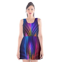 Bird Feathers Rainbow Color Pink Purple Blue Orange Gold Scoop Neck Skater Dress by Alisyart