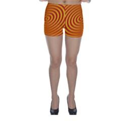 Circle Line Orange Hole Hypnotism Skinny Shorts by Alisyart
