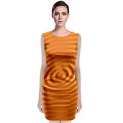 Circle Line Orange Hole Hypnotism Sleeveless Velvet Midi Dress by Alisyart